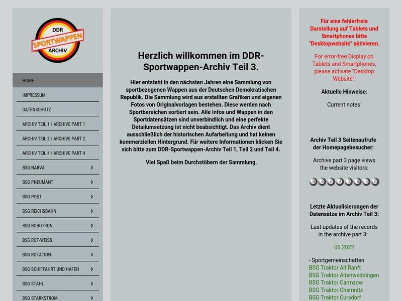 Screenshot von www.ddr-sport-wappenarchiv.de